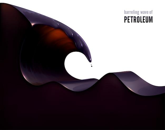 Barrelende golf van aardolie. 3d-realistische vorm van een zwarte, vettige vloeistof. Premium Vector