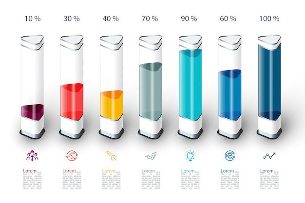 Bars grafiek infographics met kleurrijke 3d-stuk. Premium Vector