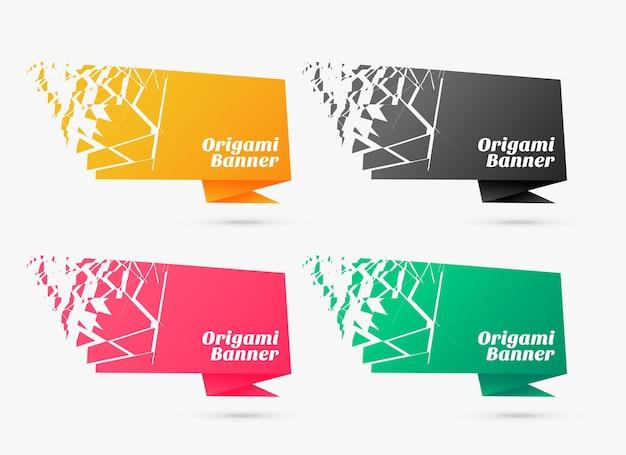 Barstende stijl origami banner sjabloon decorontwerp Gratis Vector