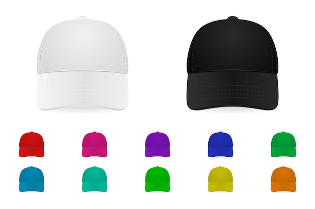 Baseball cap set Premium Vector