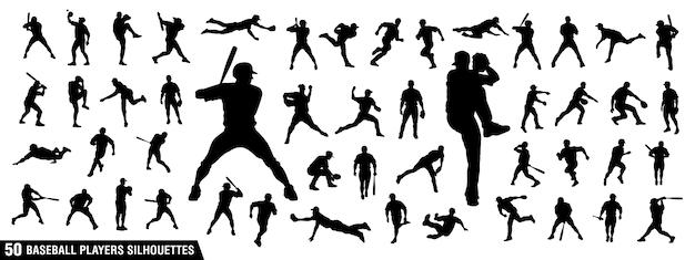 Baseball spelers silhouetten Premium Vector