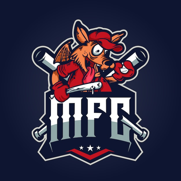 Baseball wolf logo afbeelding Premium Vector