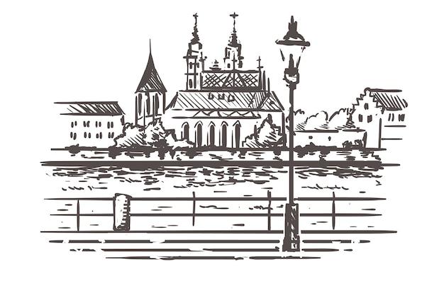 Basel stadsgezicht schets Premium Vector