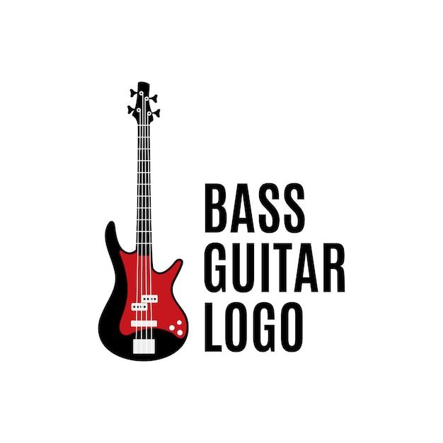Basgitaar logo, ontwerpconcept inspiratie Premium Vector