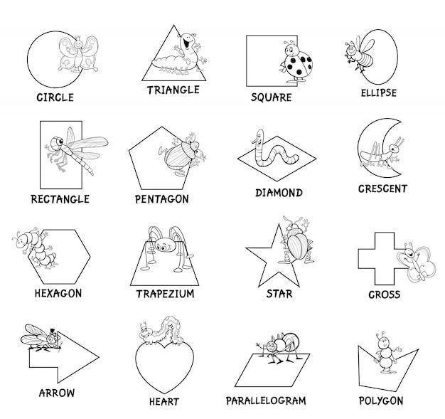 Basis geometrische vormen met onderschriften voor kinderen Premium Vector