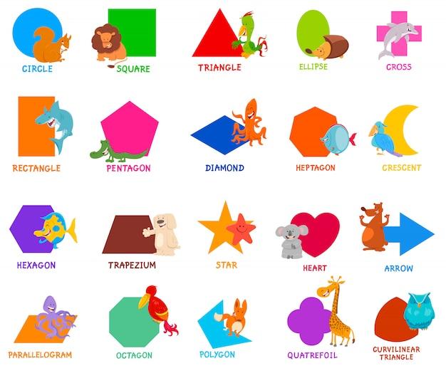 Basis geometrische vormen voor kinderen Premium Vector