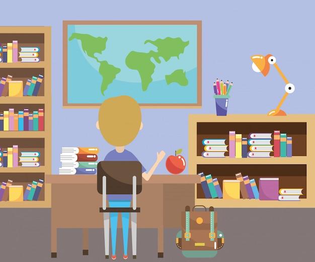Basisschool cartoon Premium Vector