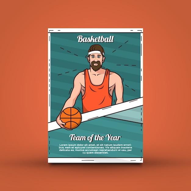 Basketbal affichemalplaatje Gratis Vector