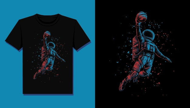 Basketbal astronaut t-shirt illustratie Premium Vector