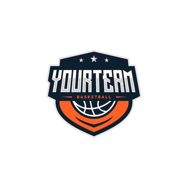 Basketbal badge logo ontwerp illustratie Premium Vector