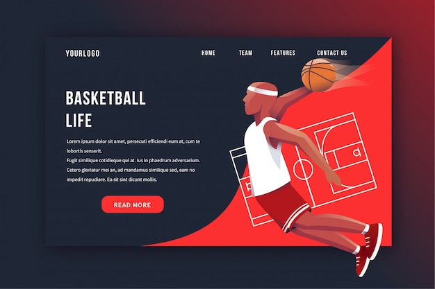 Basketbal-bestemmingspagina Premium Vector