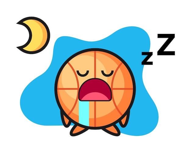 Basketbal cartoon slapen 's nachts Premium Vector