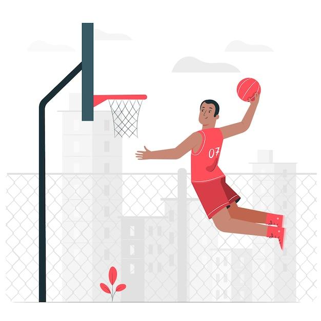 Basketbal concept illustratie Gratis Vector
