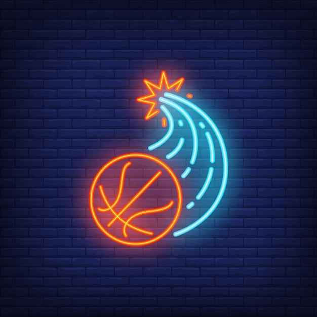 Basketbal doorbreken muur en vliegende neon teken Gratis Vector