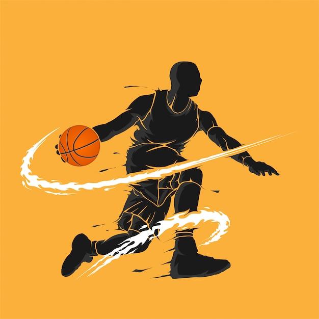 Basketbal dribbel donker vlam silhouet Premium Vector