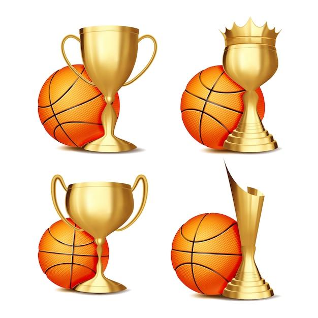 Basketbal game award set Premium Vector