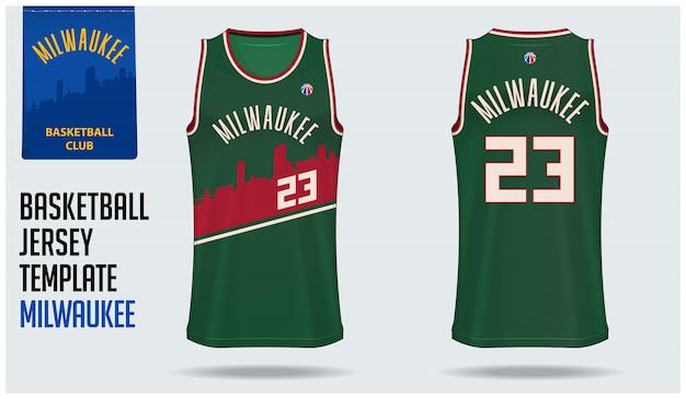 Basketbal jersey mockup sjabloonontwerp Premium Vector