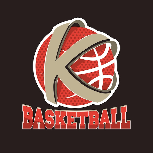Basketbal k brief team, kampioenschap embleem, basketbal toernooi, sport t-shirt afbeeldingen. Premium Vector