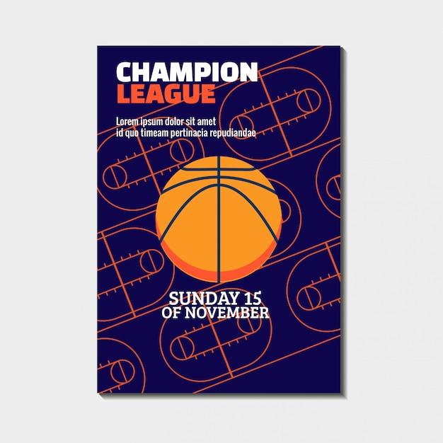 Basketbal kampioenschap toernooiposter, met sportarena Premium Vector