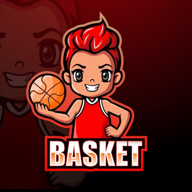 Basketbal mascotte esport illustratie Premium Vector