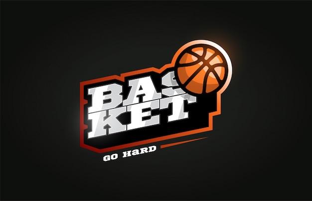 Basketbal modern professioneel sportlogo in retrostijl Premium Vector