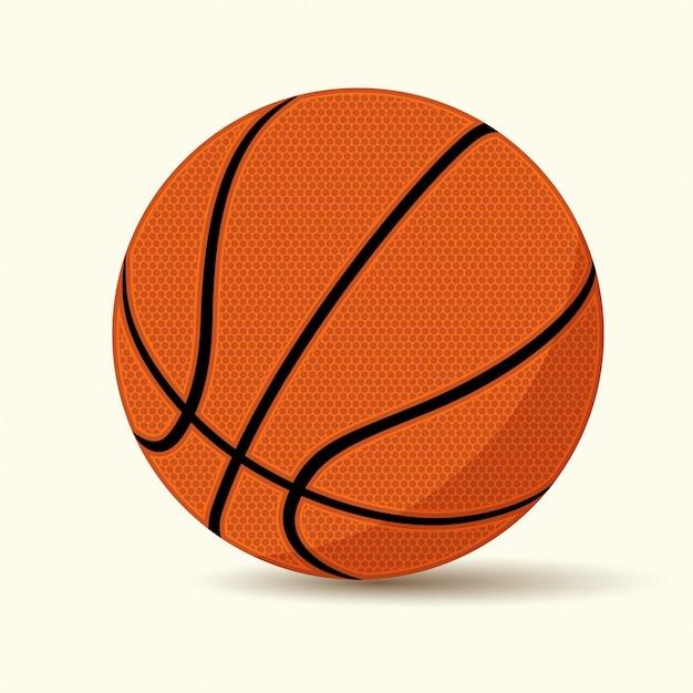 Basketbal op witte achtergrond, cartoon stijl, Premium Vector