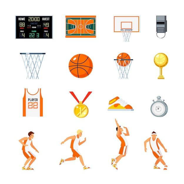 Basketbal orthogonale pictogrammen instellen Gratis Vector