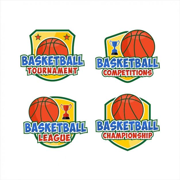 Basketbal platte logo's illustratie set Premium Vector