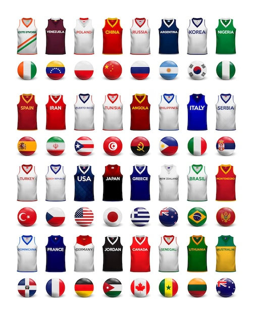 Basketbal shirts. verzameling van t-shirts en vlaggen van de nationale teams. Premium Vector