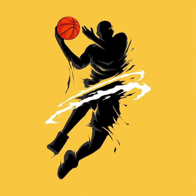 Basketbal slam dunk vlam silhouet speler Premium Vector