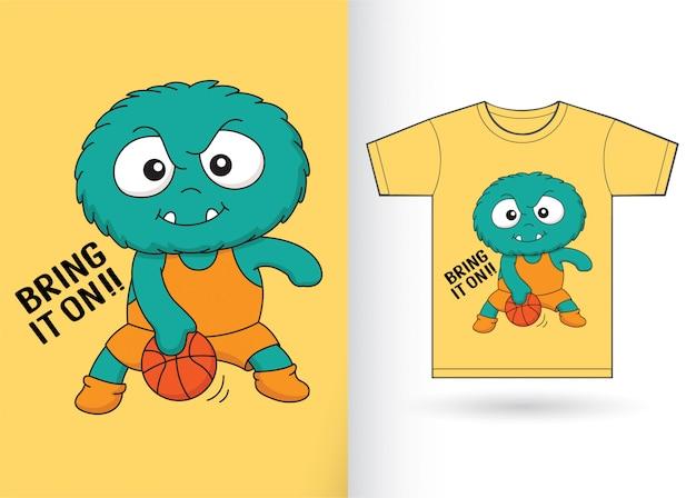 Basketbal speler monster voor t-shirt Premium Vector