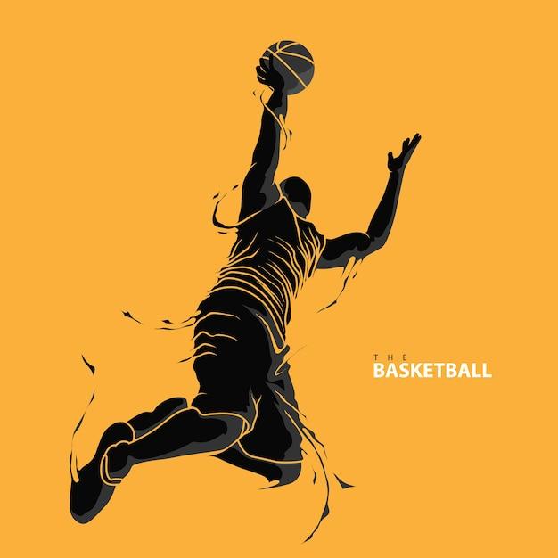 Basketbal speler plons silhouet Premium Vector