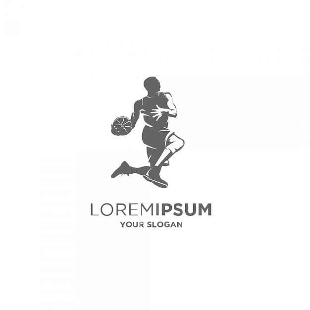 Basketbal speler silhouet logo Premium Vector