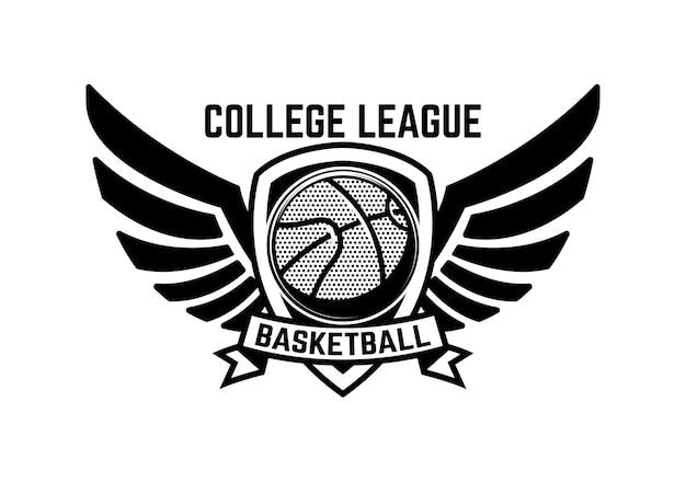 Basketbal sport embleem met vleugels Premium Vector