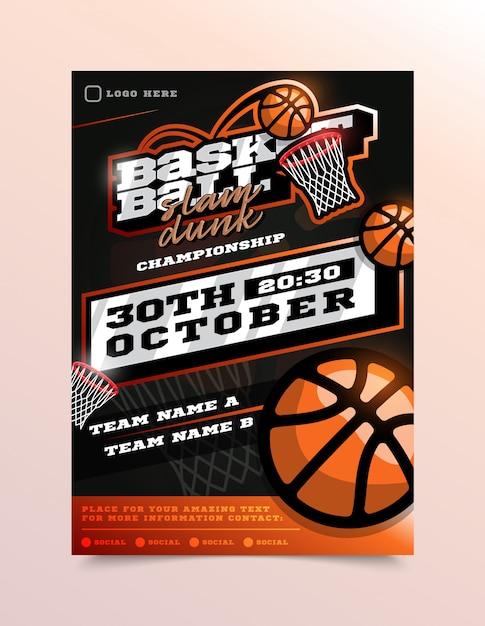 Basketbal sport flyer Premium Vector