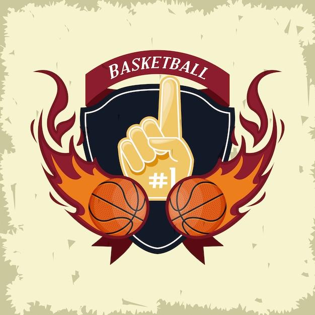 Basketbal sport spel kaart Gratis Vector