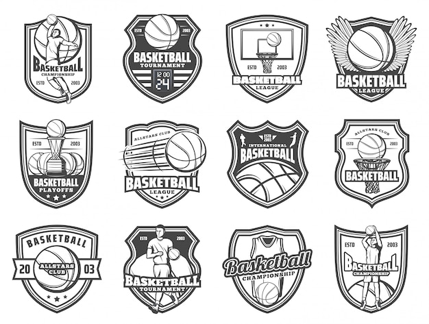 Basketbal sportbal en speler schild badges Premium Vector