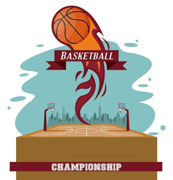 Basketbal sportwedstrijd Gratis Vector