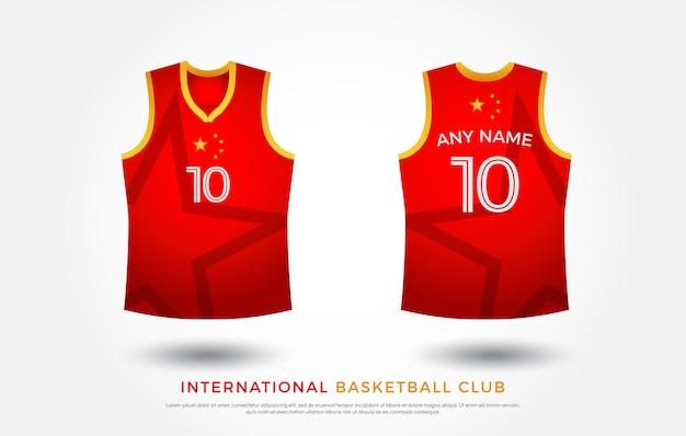 Basketbal t-shirt ontwerp uniforme set. basketbal jersey sjabloon. rood en geel Premium Vector