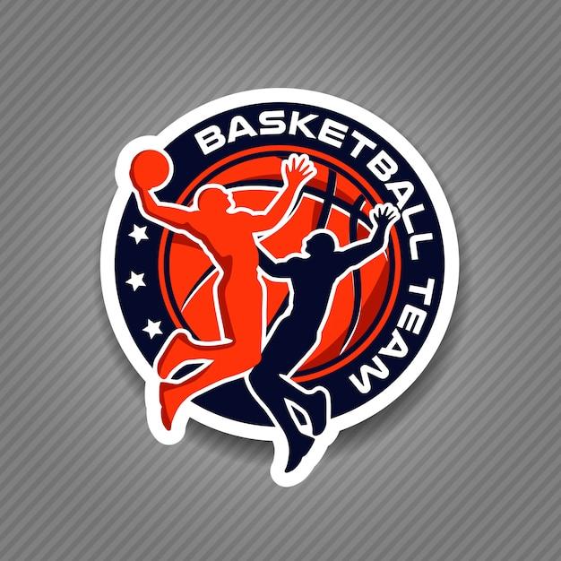 Basketbal team logo toernooi kampioenschap Premium Vector