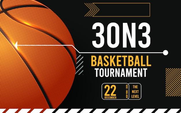Basketbal toernooi posters, flyer met basketbal bal Premium Vector
