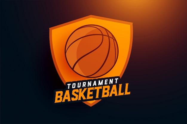 Basketbal toernooi sport team logo concept Gratis Vector