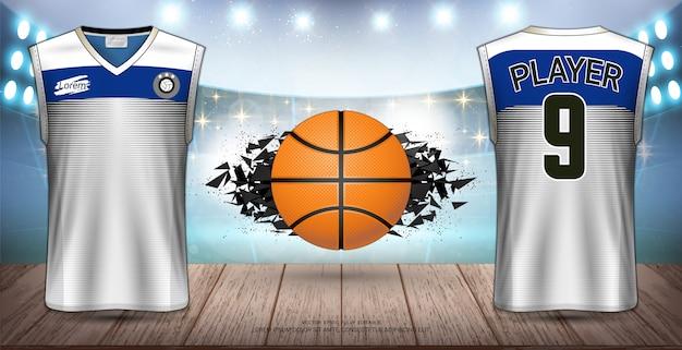 Basketbal uniform en jersey-ontwerp. Premium Vector