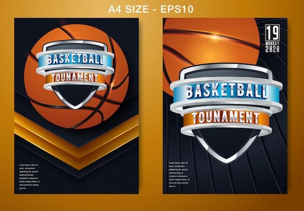 Basketbal vector poster game-toernooi Premium Vector
