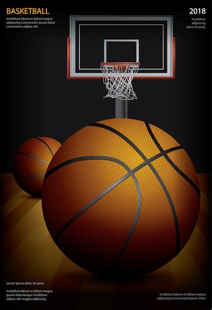Basketbalaffiche die vectorillustratie adverteren Premium Vector