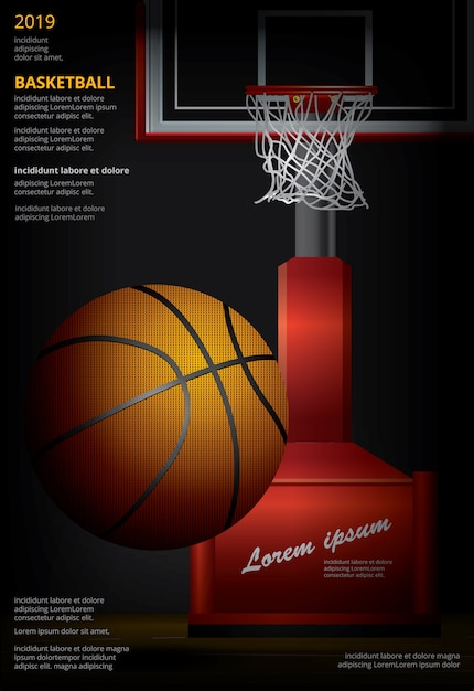 Basketbalaffiche reclame Premium Vector