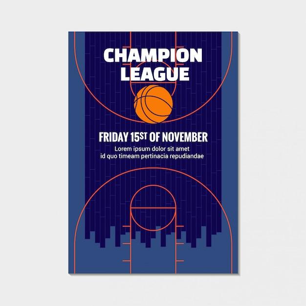 Basketball champions league-poster, aankondiging van sportevenementen Premium Vector