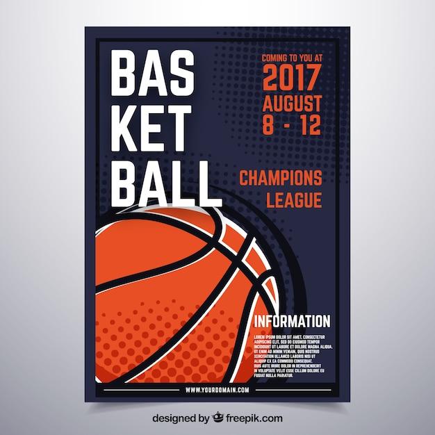 Basketball poster ontwerp Gratis Vector