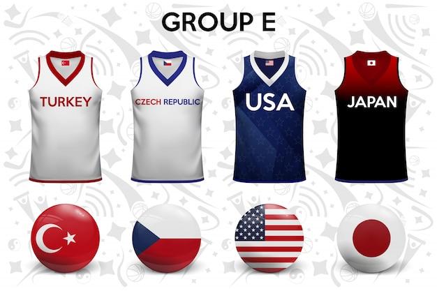 Basketbalshirts. set van t-shirts en vlaggen van de nationale teams. Premium Vector