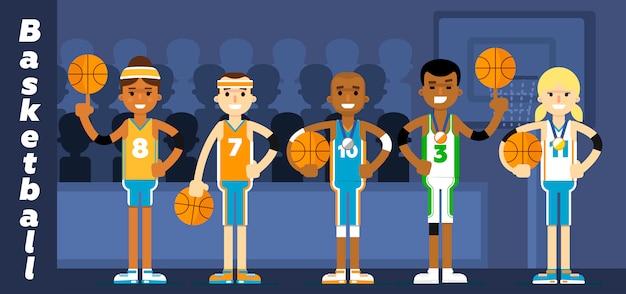 Basketbalteam op het podium toekennen Premium Vector